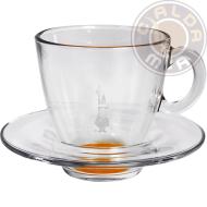 Set in vetro 6 Tazze Cappuccino fondo Arancio con piattino