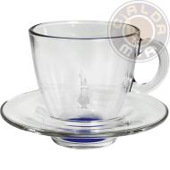 Set in vetro 6 Tazze Cappuccino fondo Azzurro con piattino