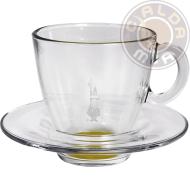 Set in vetro 6 Tazze Cappuccino fondo Giallo con piattino