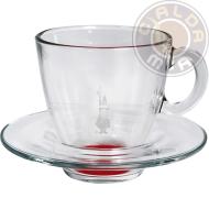 Set in vetro 6 Tazze Cappuccino fondo Rosso con piattino