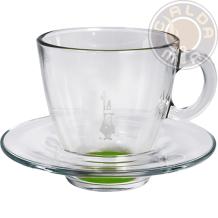 Set in vetro 6 Tazze Cappuccino fondo Verde con piattino